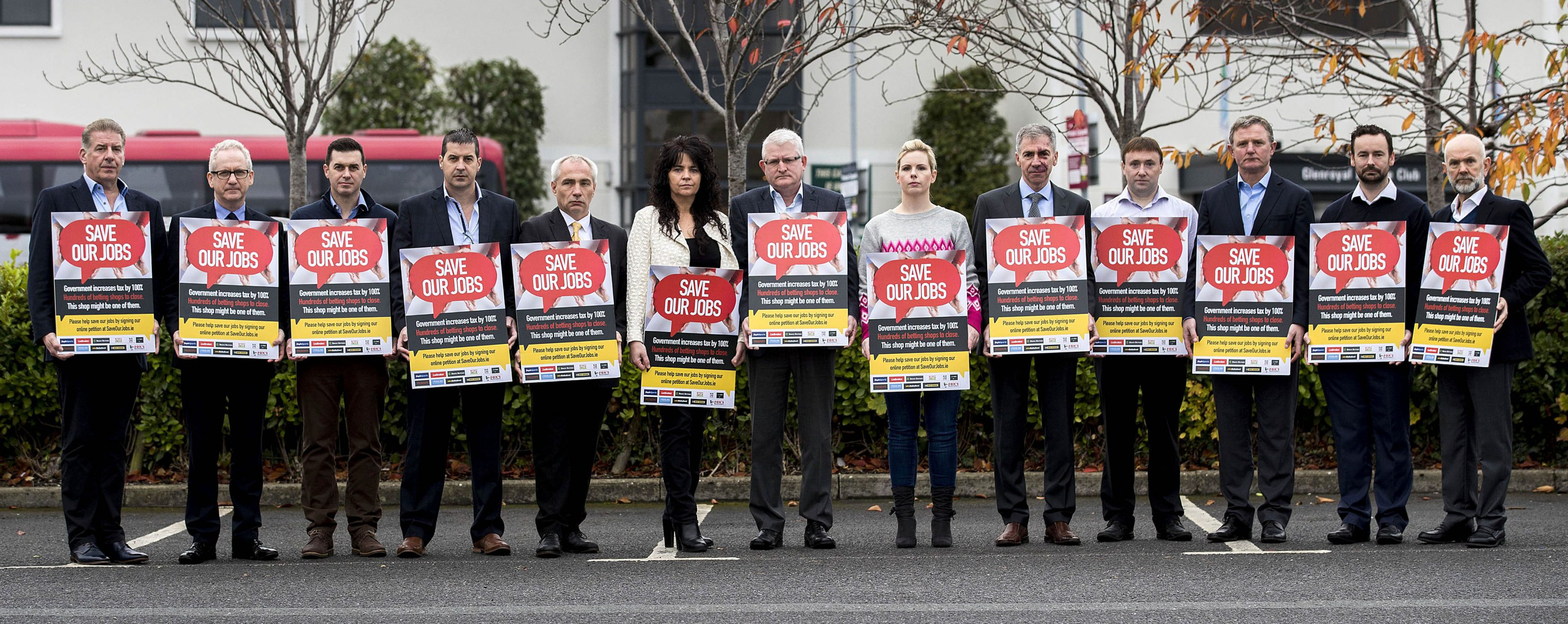 "EDITORIAL USE ONLY Irish bookmakers at the launch of the ""Save Our Jobs"" campaign that is aimed at preventing the loss of up to 2,000 jobs, which are threatened by plans to increase Betting Duty by 100 per cent. PRESS ASSOCIATION Photo. Picture date: Friday October 19, 2018. Photo credit should read: Liam McBurney/PA Wire"